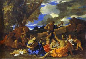 BACCHANAL WITH A GUITAR PLAYER : THE ANDRIANS. oil on canvas. 121 × 175 cm. Provenance :first recorded in the collection of the duc de Richelieu; in the inventory of Louis XIV's collection drawn up in 1683. Bibliografia : Blunt 140; Thuilllier 47. Exhibited : 1960, Paris, n. 30; 1977, Rome, n. 15; 1981, Edimburgh, n. 4.