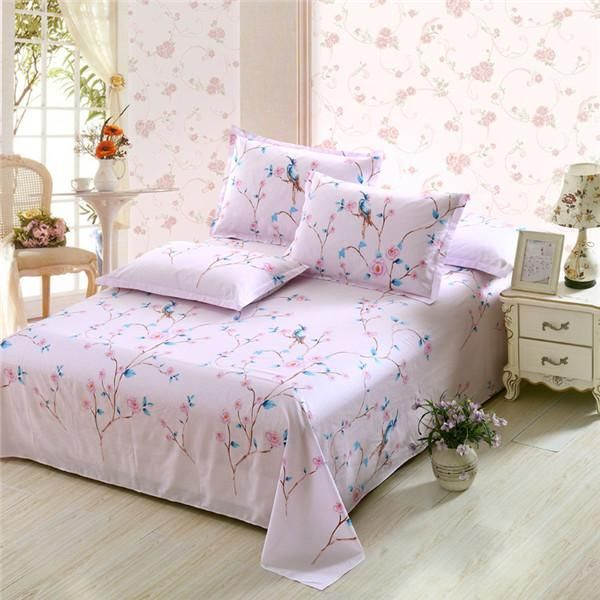 100% Cotton Bed Sheet Double Flat Sheet Pillowcase Pink White Flower Bed  Linens Twin Full