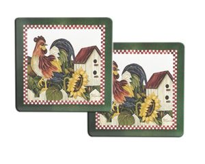 Classic Picket Fence Rooster Pattern 2 Pack Hot Pads Hot Pads Pad Rooster
