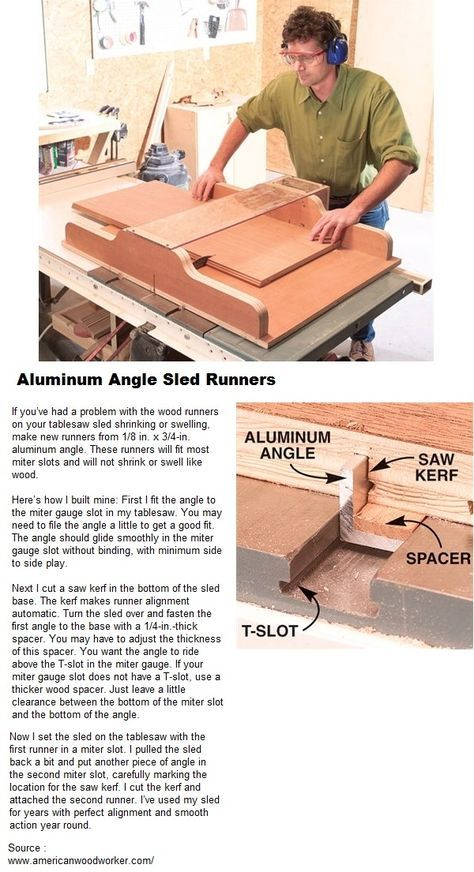 Aluminum Angle Sled Runners Table Saw Woodworking