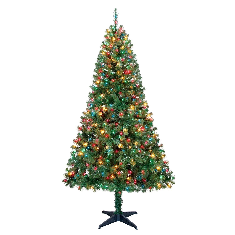 Pre-Lit 6.5\' Madison Pine Green Artificial Christmas Tree Multi ...