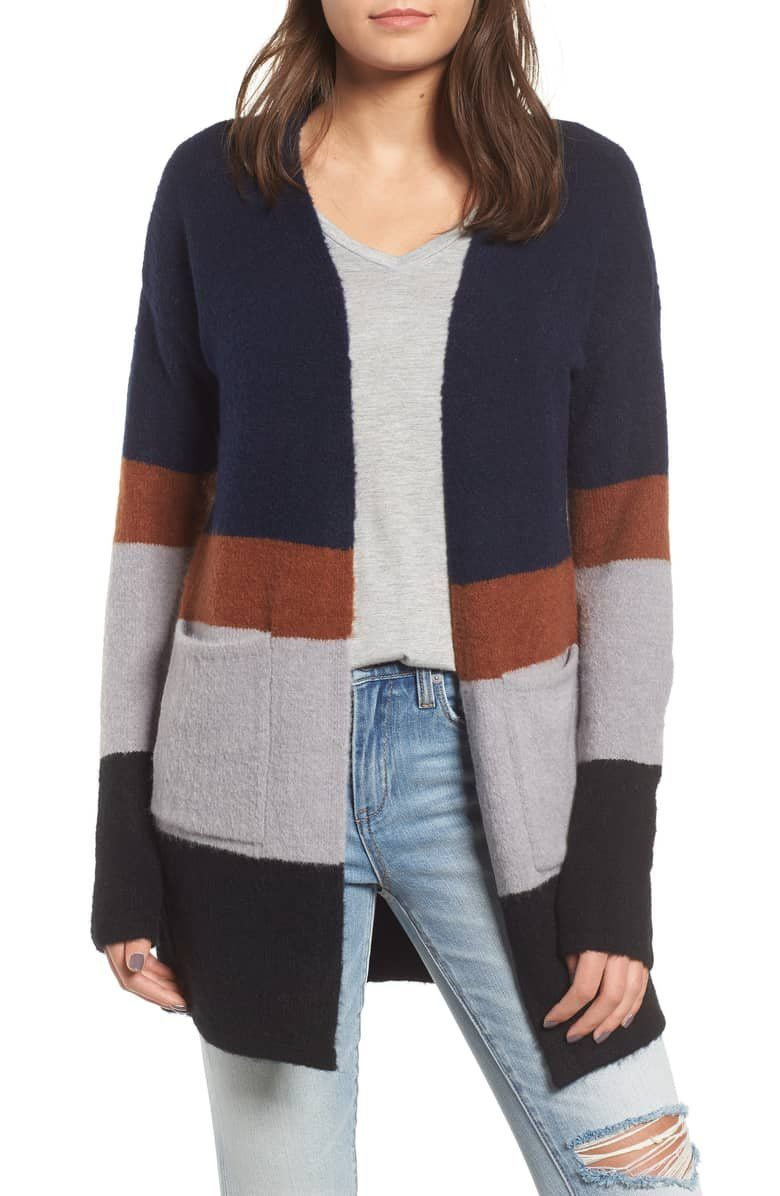 13e24278d Chuck on this color-blocked cardigan to keep cozy when temperatures ...