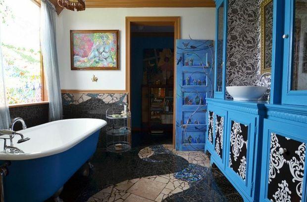 La déco salle de bain avec une touche de bleu Deco salle de bain