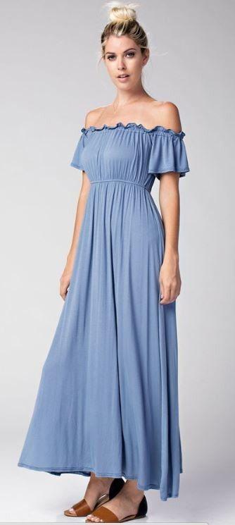 Riveria Dream Sea Teal Blue Off The Shoulder Modal Maxi Dress