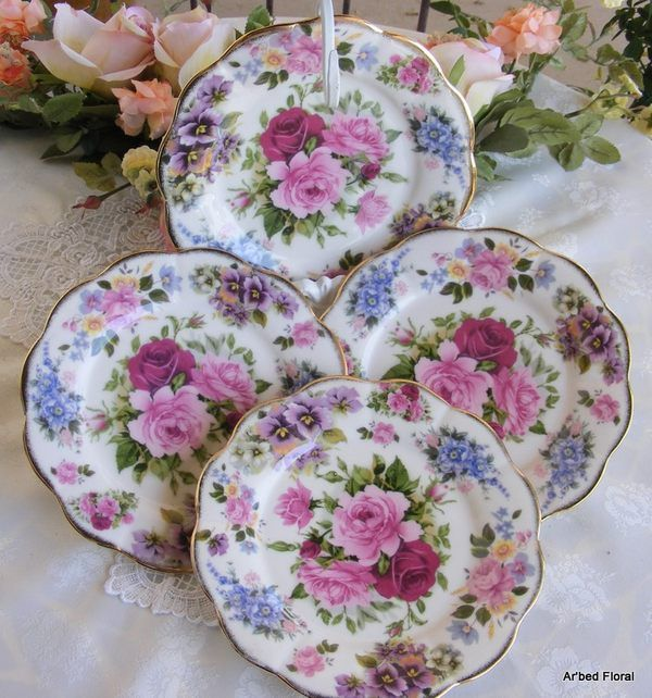 Porcelain China Chintz Dessert Plate s Set 4 Luncheon Salad Pink Burgundy | eBay