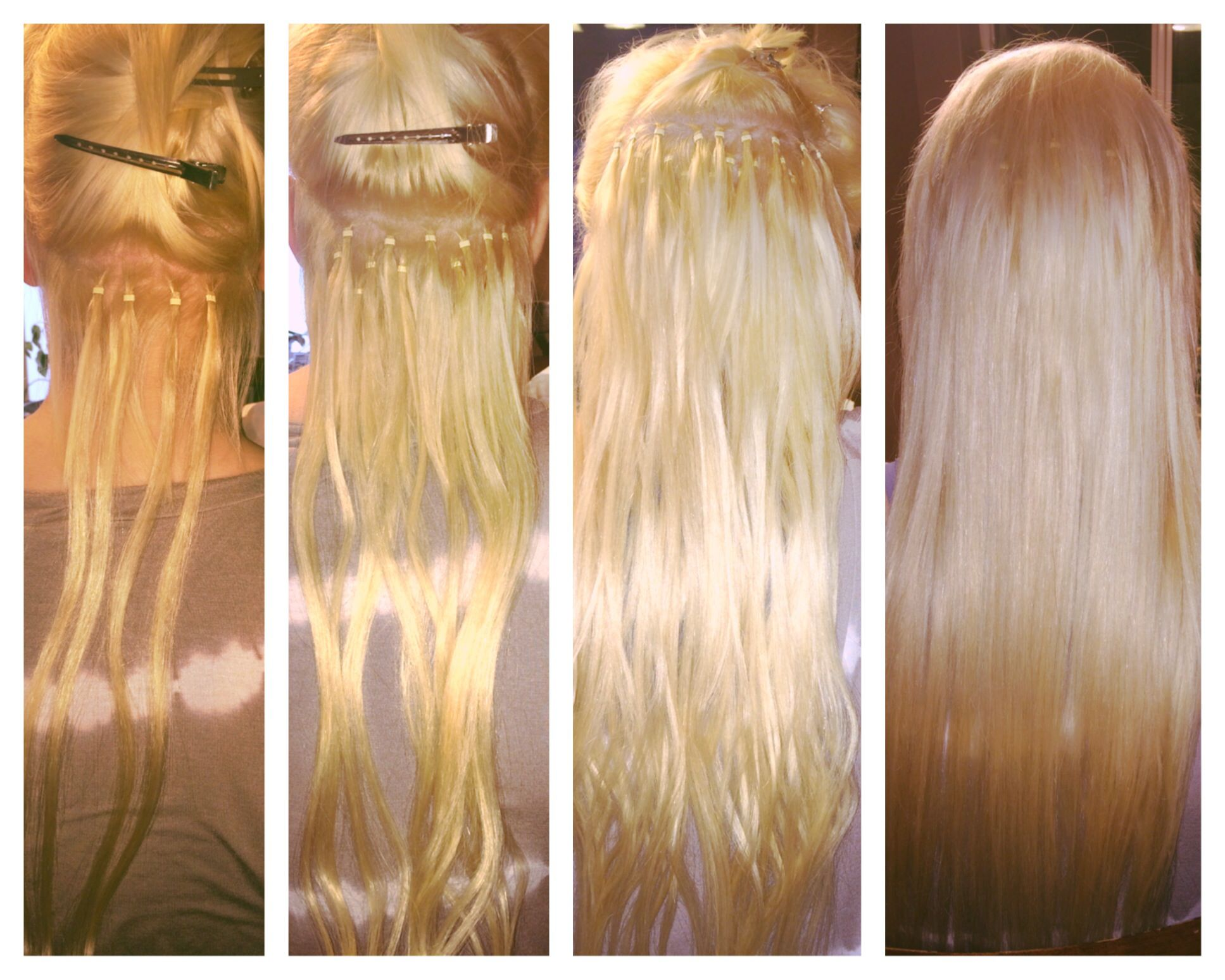 Process Of Micro Loop Hair Extensions On My Daughters Short Neck