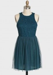 rhapsody lace and tulle dress in teal
