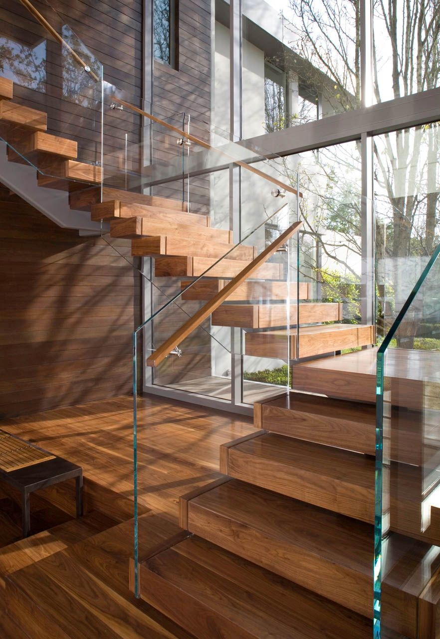 30 exemples d'escaliers en bois pour maisons modernes | Home stairs design,  Contemporary stairs, Modern staircase