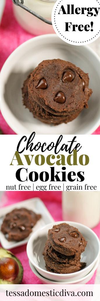 Paleo Chocolate Avocado Cookies - #avocadocookies #chocolateavocadocookies#paleoeggfree #paleonutfree #paleocookies #paleochocolate #lowcarbcookies #ketocookies
