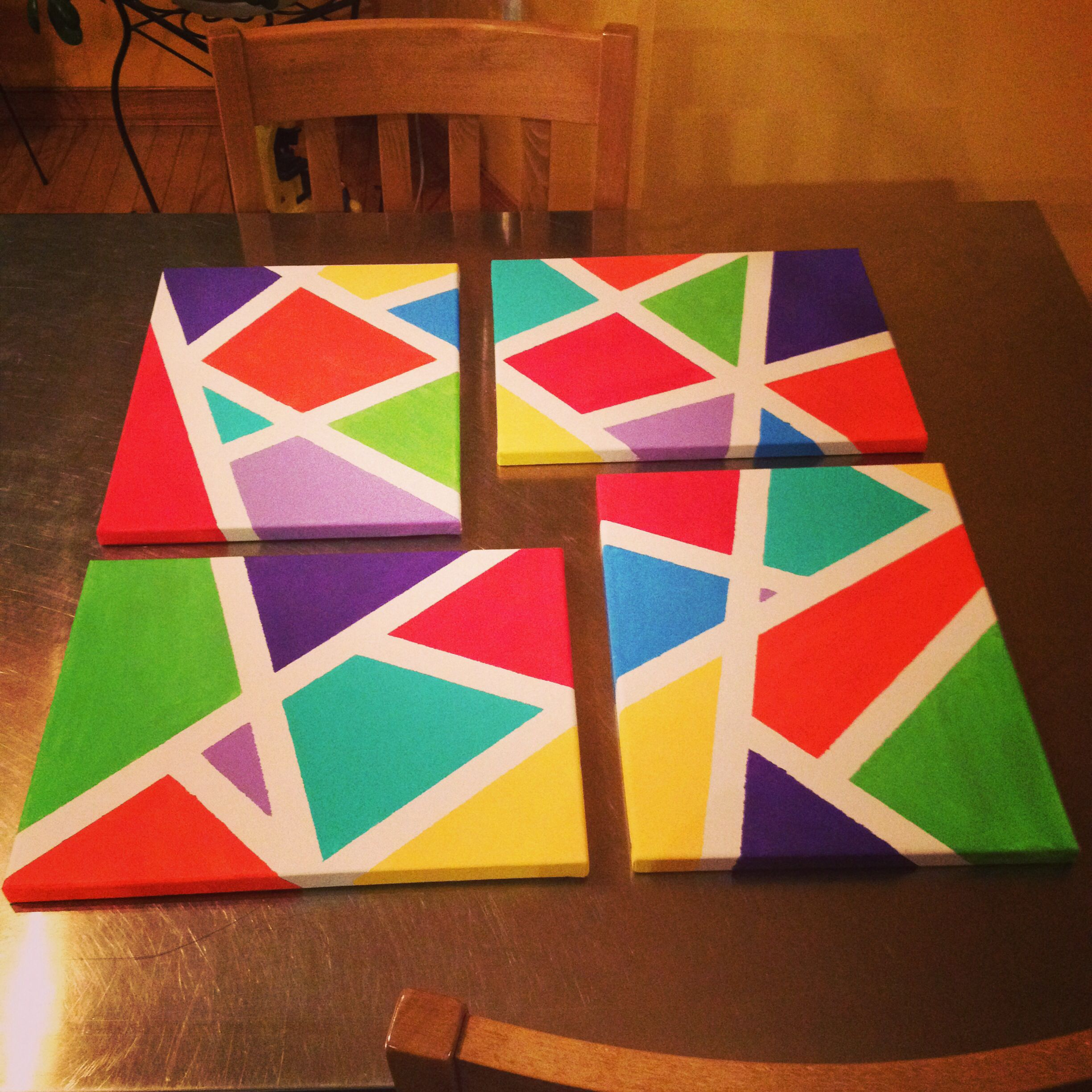 Painting Ideas With Tape: DIY Canvas Painting Using Painters Tape