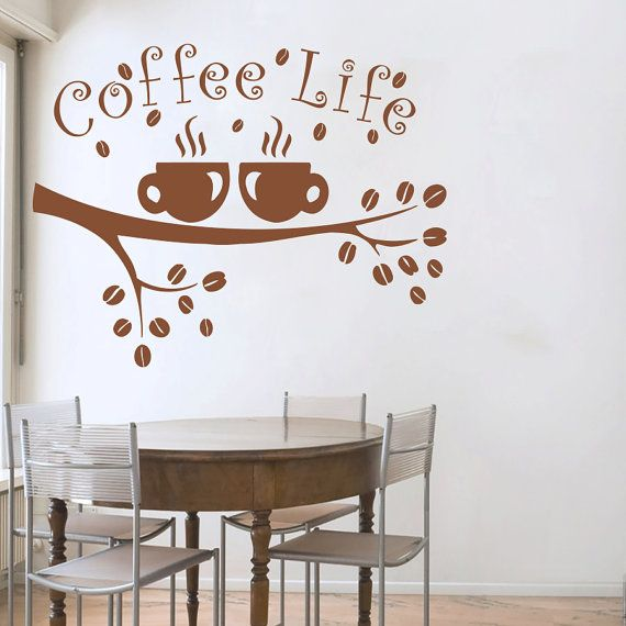 Coffee Wall Decals Cup Sticker Quotes Decal Vinyl Kitchen Decor - Custom vinyl wall decals coffee