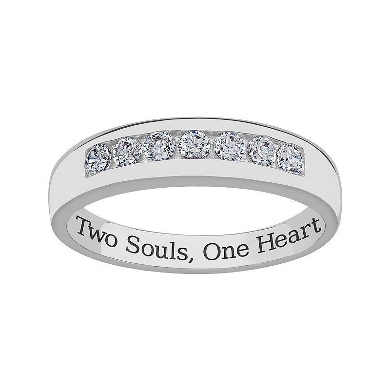 Sweet Sentiments Sterling Silver Cubic Zirconia Wedding Band - Men, Size: 12, White