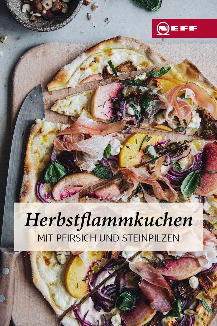 Flammkuchen mit Steinpilzen und Pfirsichen: so schmeckt der Herbst!