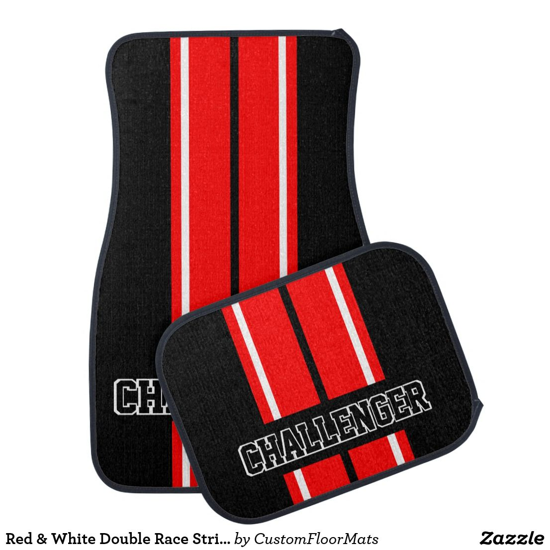 Red White Double Race Stripes Personalize Car Floor Mat