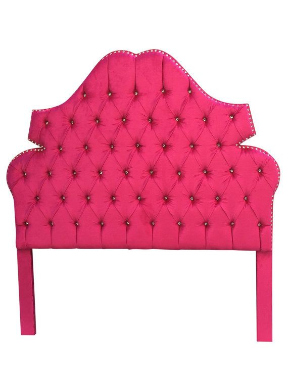 Upholstered Headboard Hot Pink Twin Full Queen Or King Size Tufted With Rhineston
