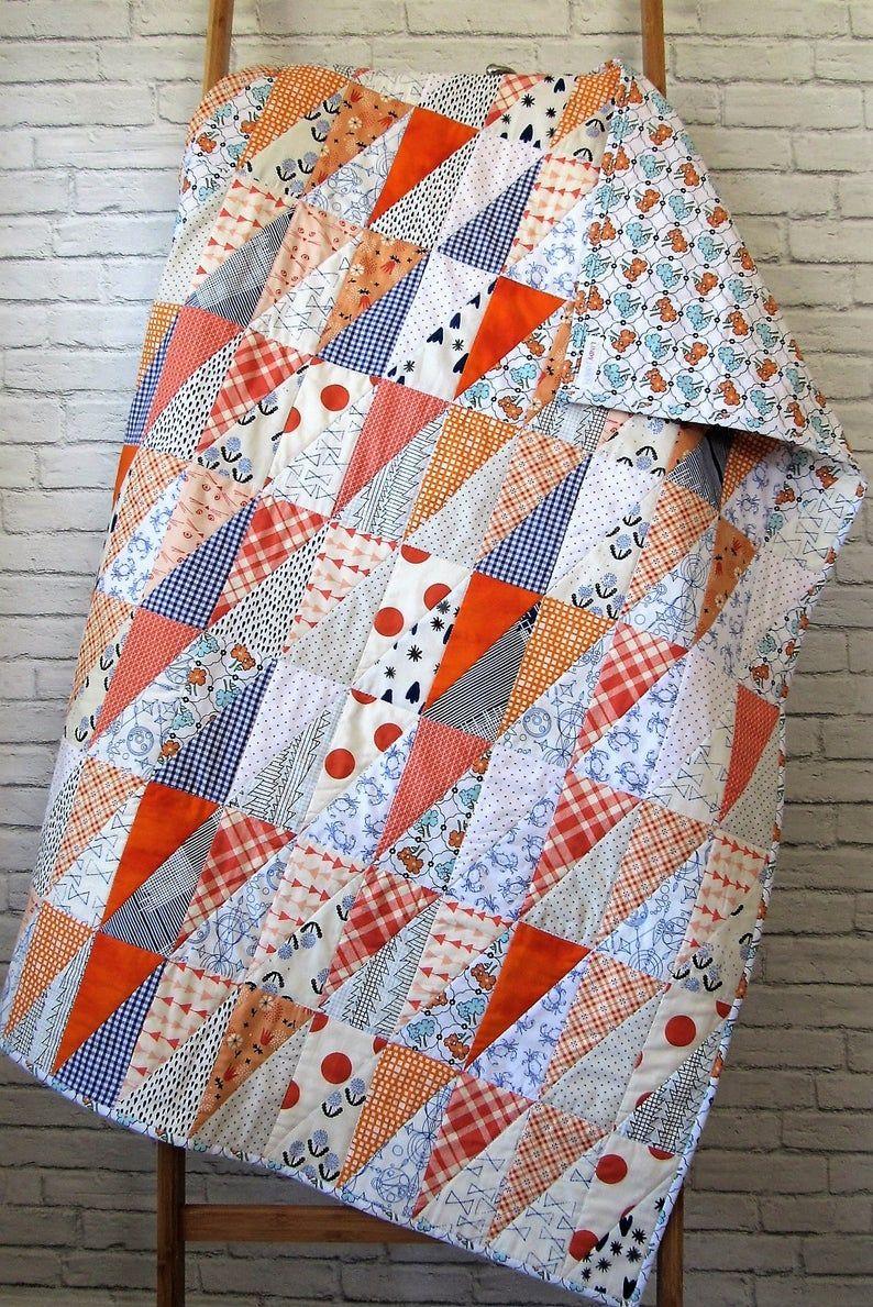 Auburn Baby Quilt Auburn Toddler Quilt Orange And Blue Baby Quilt Beginner Quilt Patterns Modern Quilt Patterns Toddler Quilt