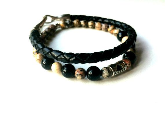Guys Stack Bracelet Gift Set with Genuine Leopard by BARESTONE