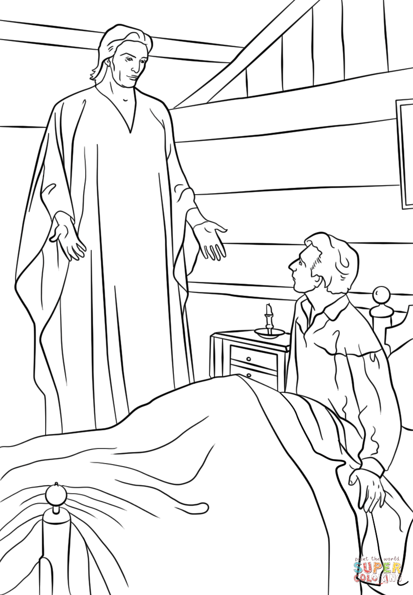 Primary 5 Lesson 3 The Angel Moroni Visits Joseph Smith Classroom Prep On The Chalkboard His Wh Joseph Smith Lesson Joseph Smith Lds Coloring Pages