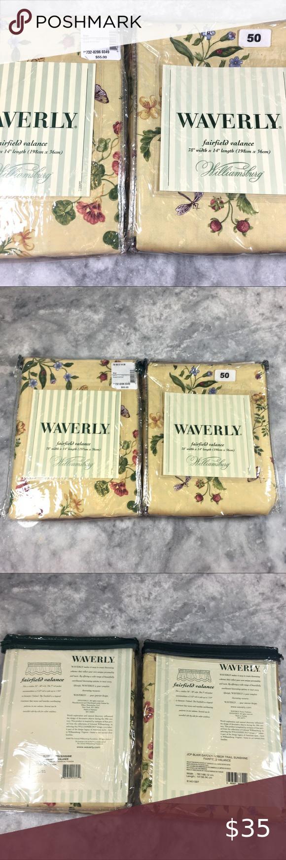 Waverly Fairfield Valance Blair Garden Sunshine Yellow Blossom Ivy Geraniums Waverly