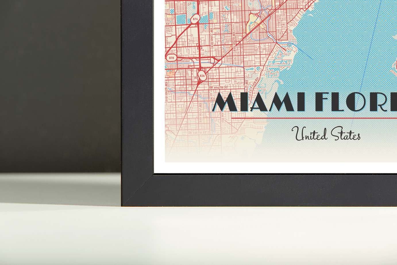 Framed Map Poster Of Miami Florida Diner Retro Miami Map Art