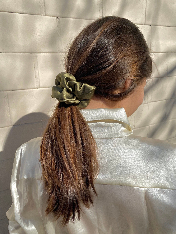 Khaki Silk Scrunchie Silk Hair Scrunchies Hair Accessory Etsy In 2020 Scrunchie Hairstyles Hair Styles Silk Hair