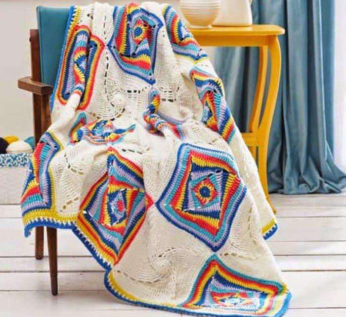 Maravillosa manta al crochet con cuadros artísticos con