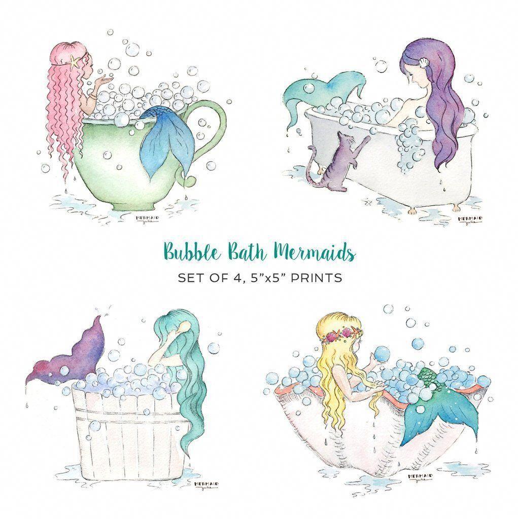 Mermaid Bathtub Art Prints Adorable Mermaid Decor For Girls Bathroom Artwork By Mermaid Julie Girlsbathroom Mermaid Decor Mermaid Bathroom Decor Bath Art