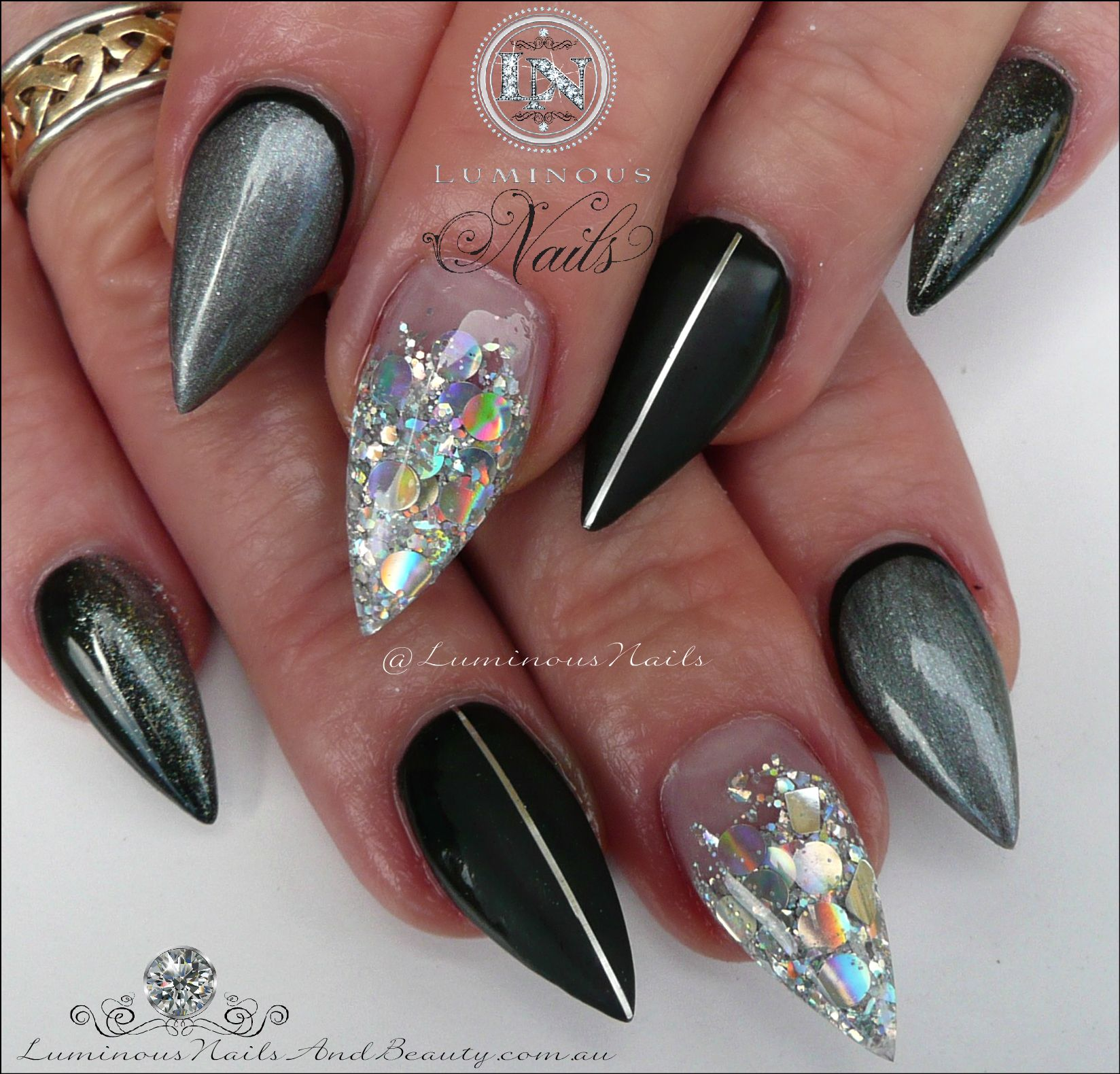 black, matt black, steel grey, ombre & silver acrylic nails