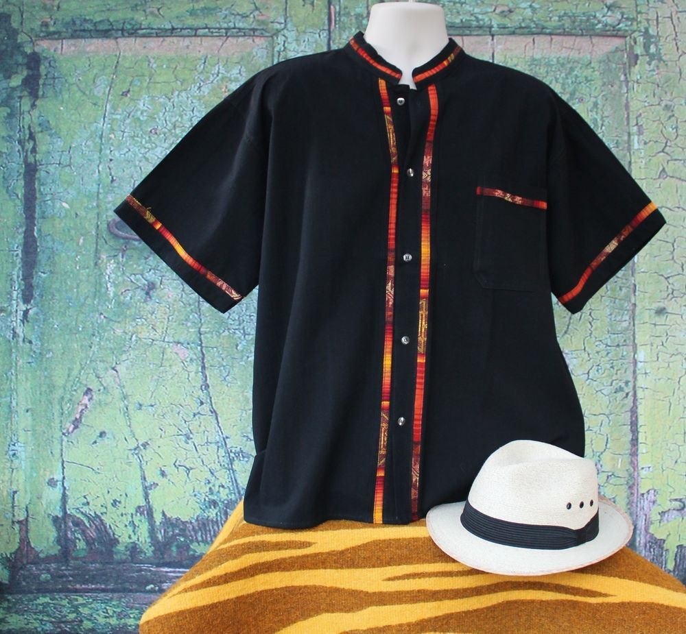 a73faf3c89 Black Men s Guayabera Latin American Shirt all Cotton made in Mexico Very  Casual  Handmade  Guayabera