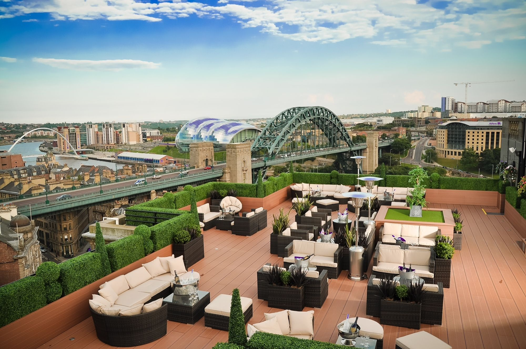 The Vermont Hotel's Sky Lounge features incredible panoramic views of Newcastle City including the Quayside and Castle.