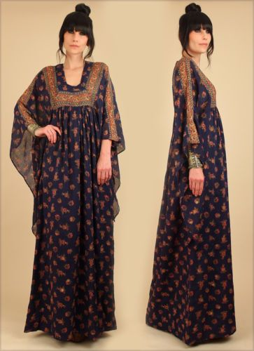 113e2ff6739c6 ViNtAgE-60s-70s-Indian-Cotton-Angel-Wing-Caftan-Maxi-Dress-India-Adini-Boho-s-m