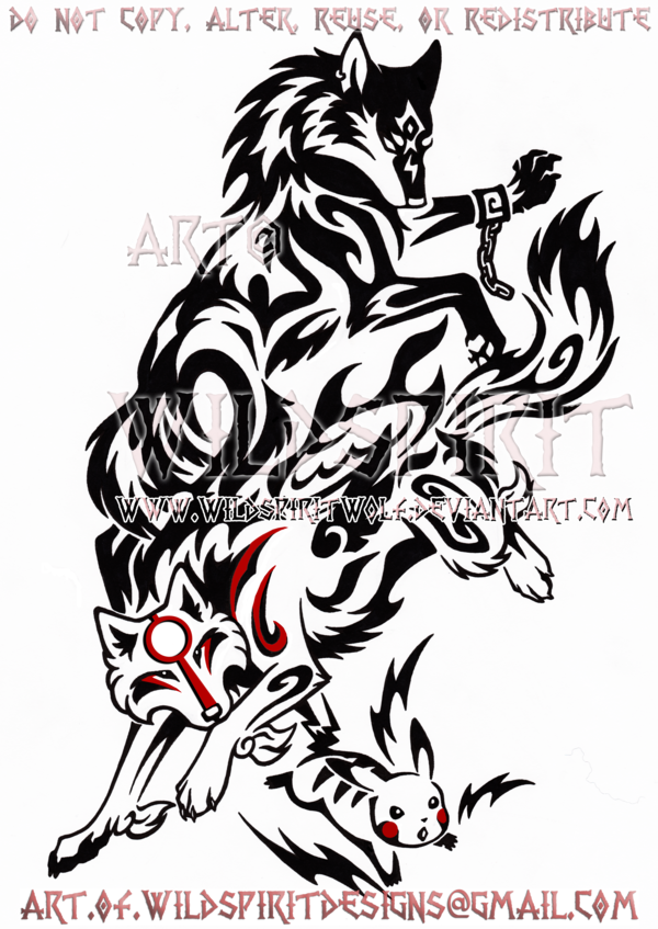 This Is S Completed Commission Of Wolf Link From Twilight Princess Amaterasu From Okami And Pikachu From Amaterasu Tribal Animal Tattoos Tribal Wolf Tattoo