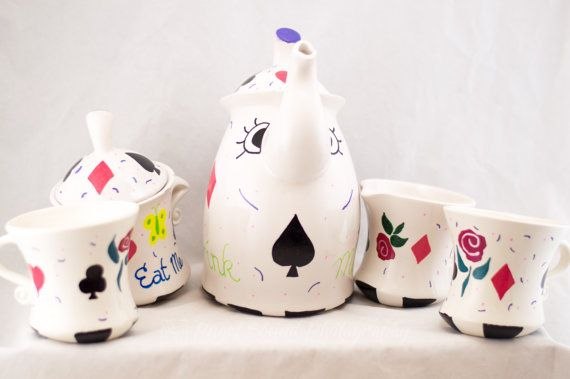 Tea Pot Set - Mad Hatter - Hand Painted #teapotset
