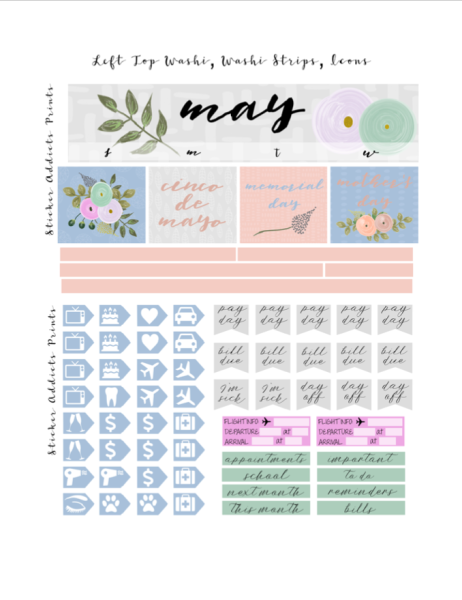 Free printable may monthly planner stickers from sticker for Planners anonymous