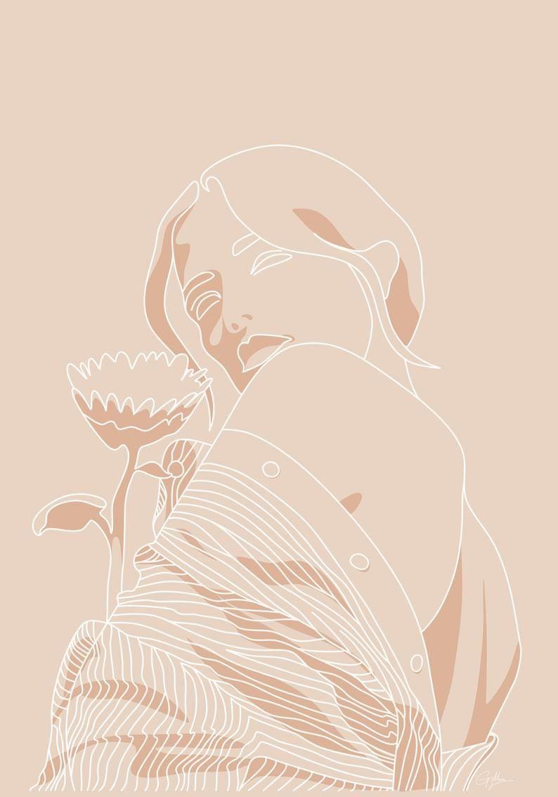 One Line Art, Minimalism, Minimalistic Art, Modern, Woman Art, Printable Art, Feminine, Abstract Wall Decor