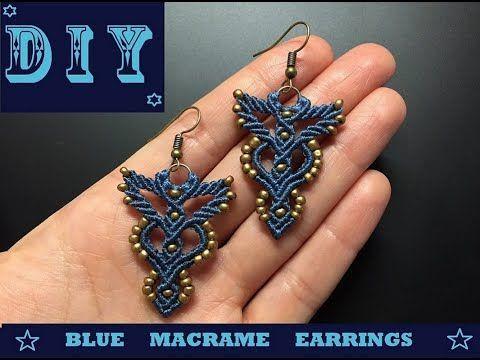 Photo of DIY blaue Makramee Ohrringe. Einfacher Micromacrame-Schmuck. DIY Blue Macrame Ohrringe ….