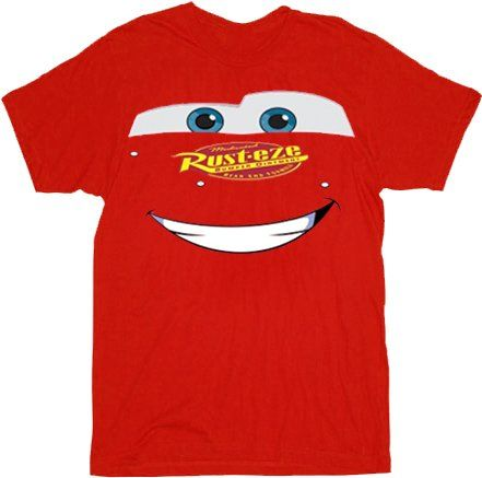 Cars 2 lightning big face mcqueen adult mens red t shirt for Pixar logo t shirt