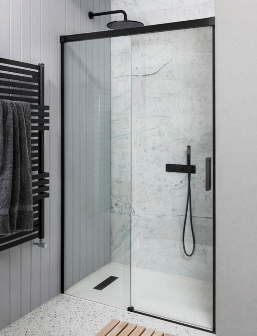 Fan Of Crittall Windows This Matt Black Single Slider Shower Door From Simpsons Is Available From T Shower Doors Bathroom Interior Design Sliding Shower Door