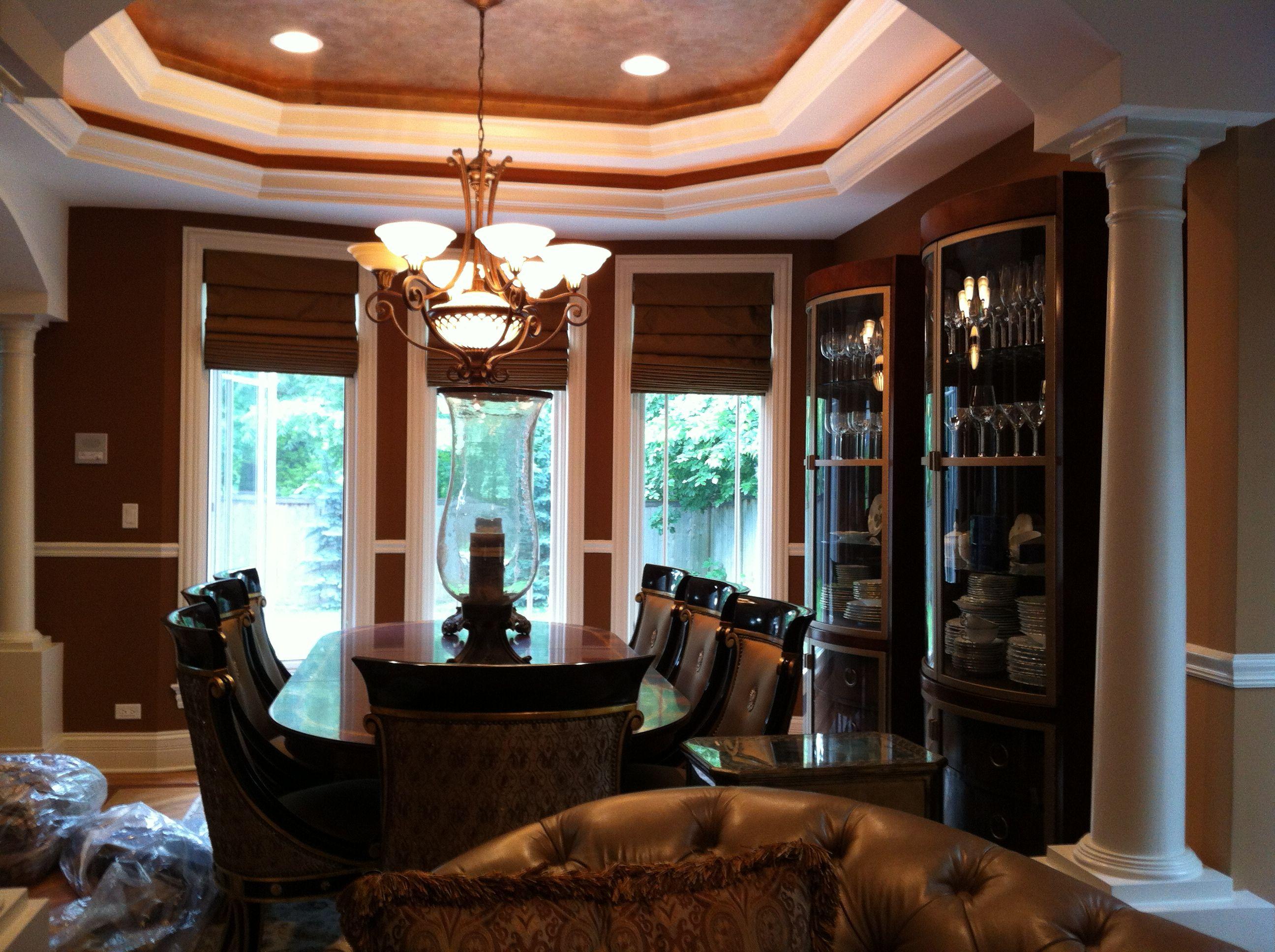 Windows Etc., Inc, Oswego, IL.....custom hobbled silk shades, dining room, Hinsdale, IL.
