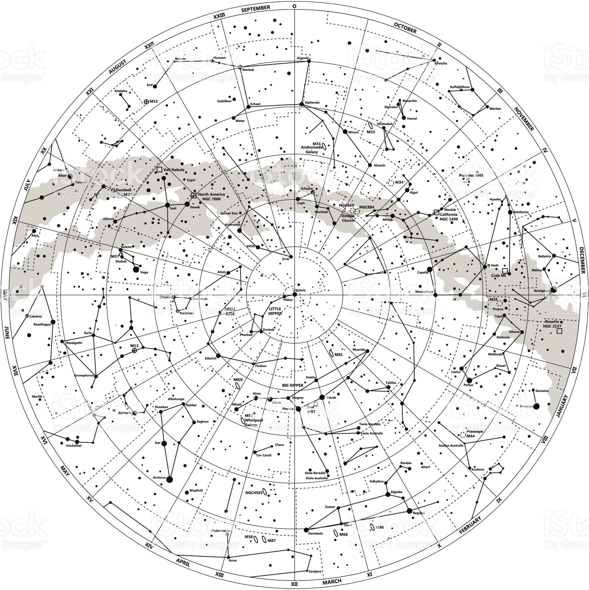 High Detailed Sky Map Of Northern Hemisphere With Names Of