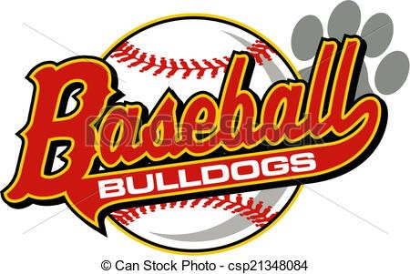 Vector Of Bulldogs Baseball With Tail And Paw Print Csp21348084 Search Clip Art Illustration Drawings And Clipar Paw Print Clip Art Clip Art Bulldog Mascot
