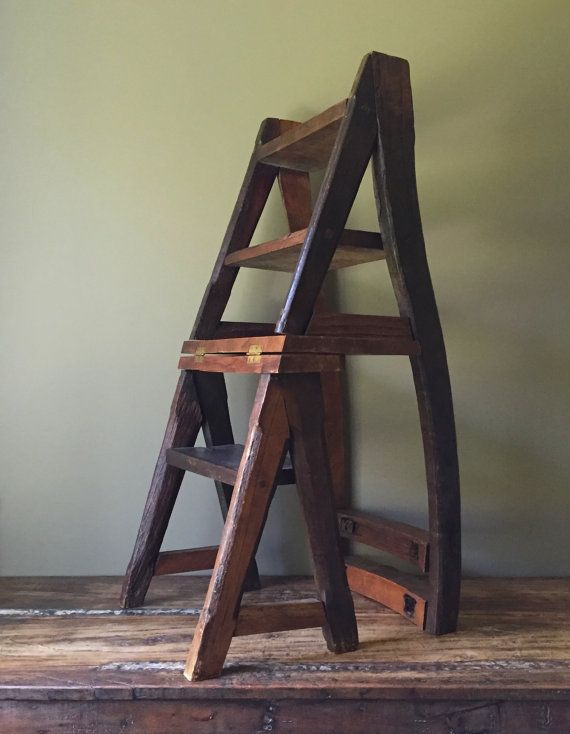 Reclaimed Primitive Wood Step Ladder Chair, Ben Franklin Folding Library  Seat