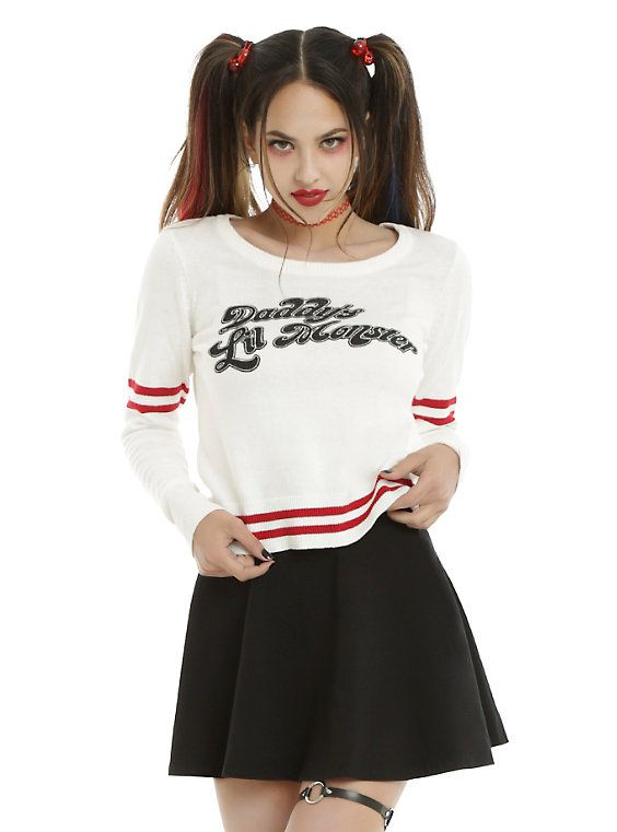 DC Comics Suicide Squad Harley Quinn Daddy's Lil Monster Girls Sweater Pre-Order, IVORY