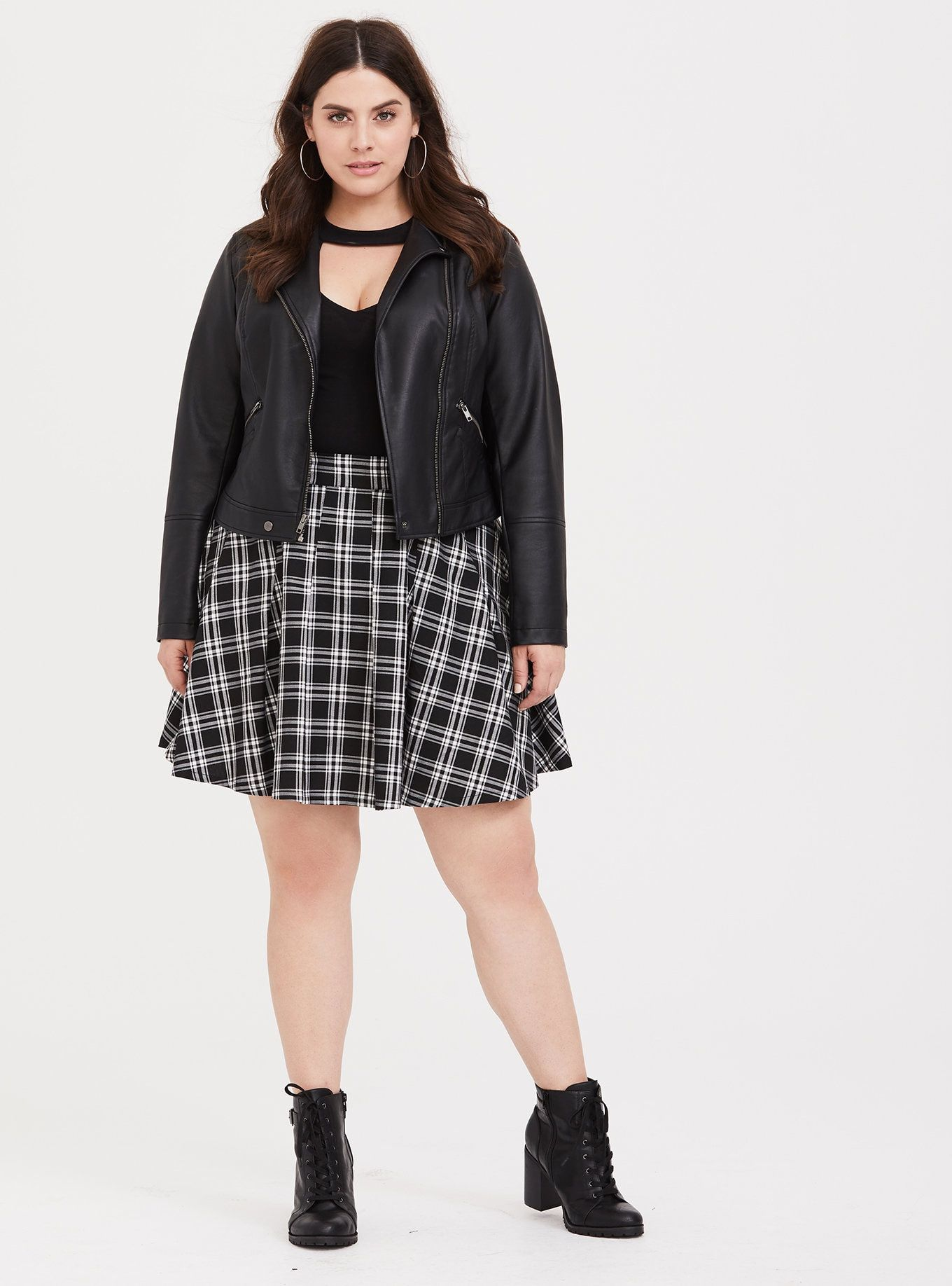 Black White Plaid Pleated Twill Skirt Plus Size Outfits Plus Size Fall Outfit Plus Size Fashion For Women