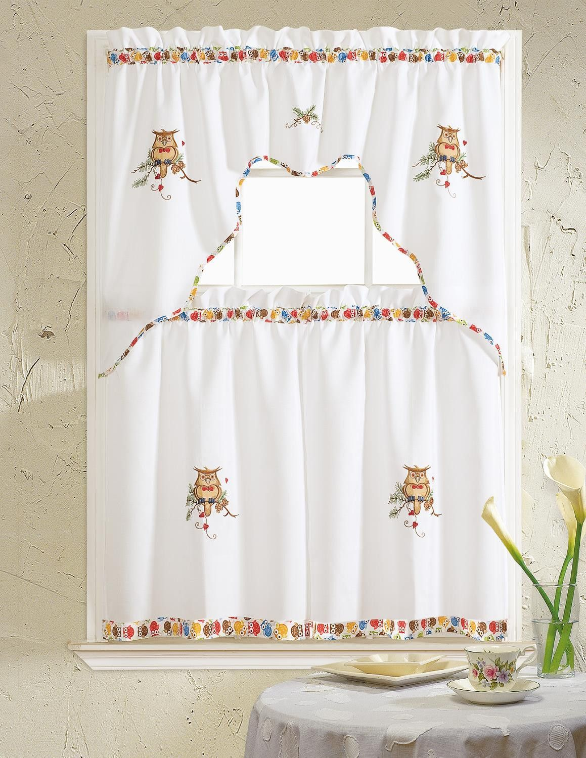 Grand Owl Embroidered Ruffle Kitchen Curtain Set Valance 60 X 14 Two Tiers 30 X 36 Kitchen Curtain Sets Curtains