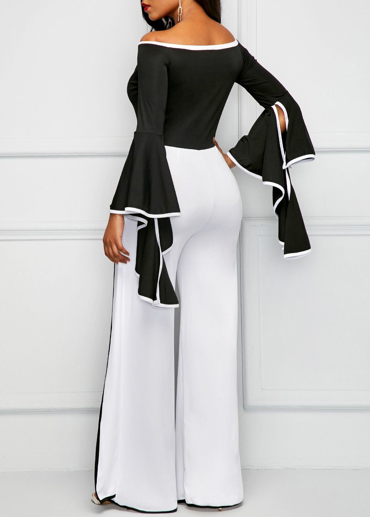 694f277ff4f Flare Sleeve Off the Shoulder Contrast Binding Jumpsuit on sale only  US 37.03 now