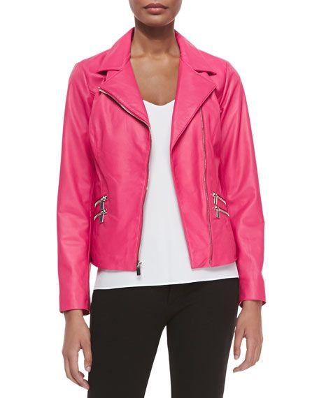4b1f1b36edf Leather Moto Jacket W/ Zip Pockets Hot Pink | Coats/Jackets/Blazers ...