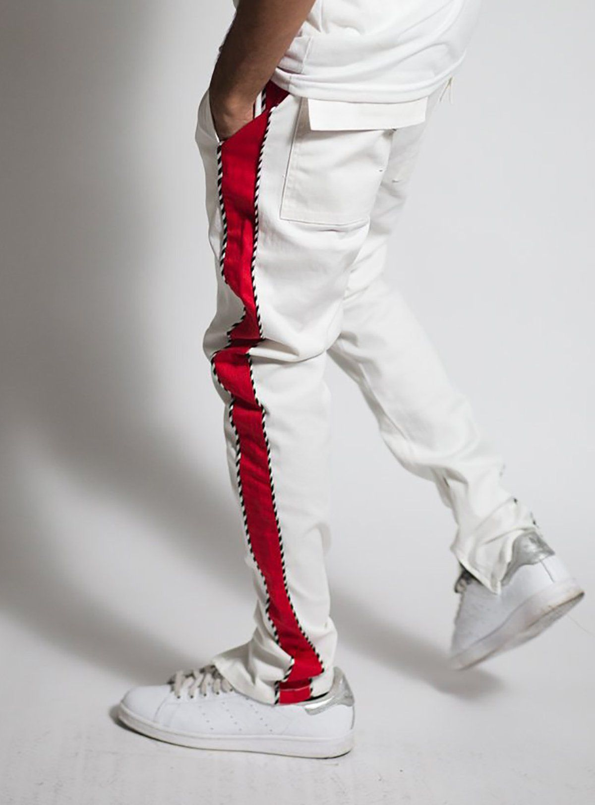 d3b9274a Piping Stripe Track Pant in White and Red | Sweat Pant's | Pants ...
