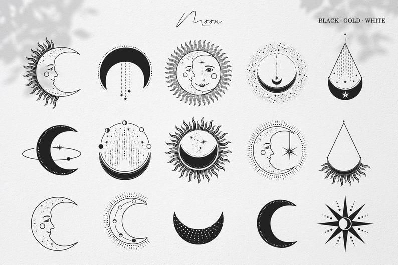 Moon Sun Stars Illustrations Celestial Clipart In Vector Svg Png Celestial Digital Paper Instagram Stories Magic Frames Star Illustration Moon Tattoo Moon Icon