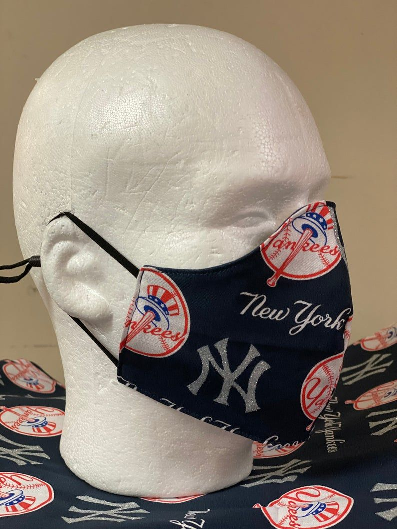 New York Yankees Face Mask With Nose Wire Elastic With Etsy In 2020 Face Mask New York Yankees Yankees